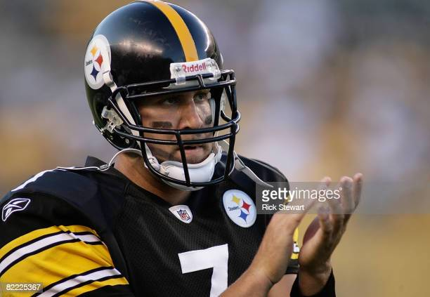 Ben Roethlisberger of the Pittsburgh Steelers encourages teammates against the Philadelphia Eagles during a preseason game on August 8, 2008 at Heinz...