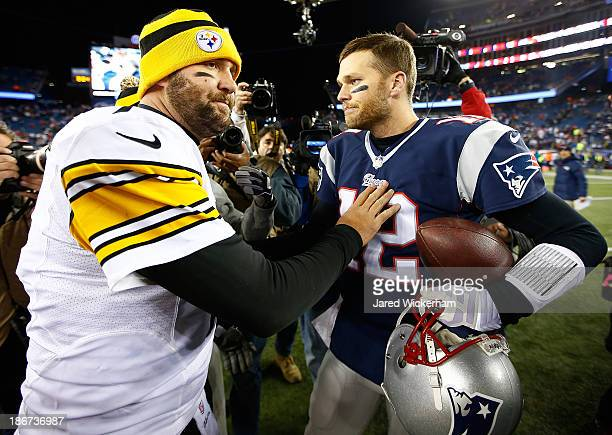 Ben Roethlisberger of the Pittsburgh Steelers greets Tom Brady of the New England Patriots following the game at Gillette Stadium on November 3, 2013...
