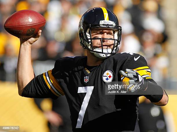 Ben Roethlisberger of the Pittsburgh Steelers in action during the game against the Oakland Raiders on November 8, 2015 at Heinz Field in Pittsburgh,...