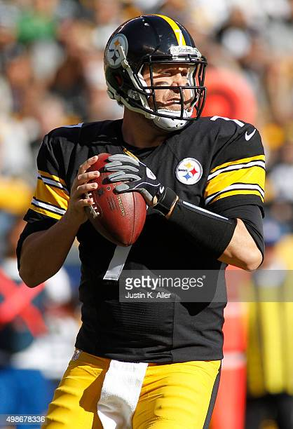 Ben Roethlisberger of the Pittsburgh Steelers in action during the game against the Oakland Raiders on November 8 2015 at Heinz Field in Pittsburgh...