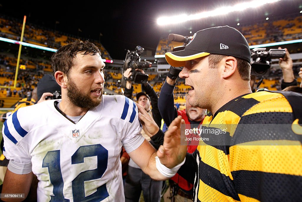 Ben Roethlisberger #7 of the Pittsburgh Steelers is congratulated by Andrew Luck #12 of the Indianapolis Colts after Pittsburgh's 51-34 win at Heinz Field on October 26, 2014 in Pittsburgh, Pennsylvania.