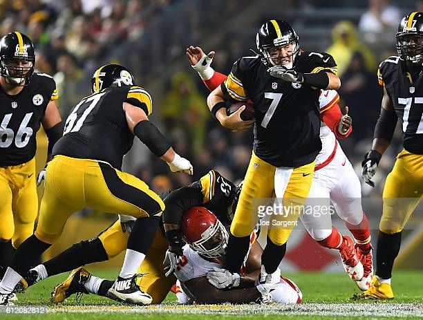 Ben Roethlisberger of the Pittsburgh Steelers is sacked by Dontari Poe of the Kansas City Chiefs in the first quarter during the game at Heinz Field...