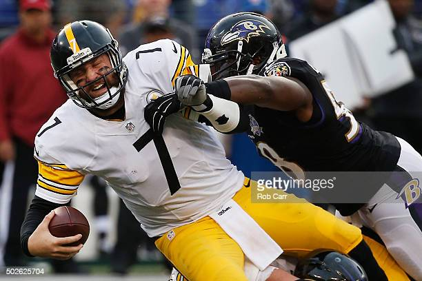 Ben Roethlisberger of the Pittsburgh Steelers is sacked by Elvis Dumervil of the Baltimore Ravens during the fourth quarter at MT Bank Stadium on...