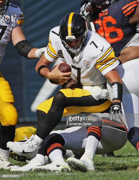 Ben Roethlisberger of the Pittsburgh Steelers is sacked on the final play of regulation by Willie Young of the Chicago Bears at Soldier Field on...