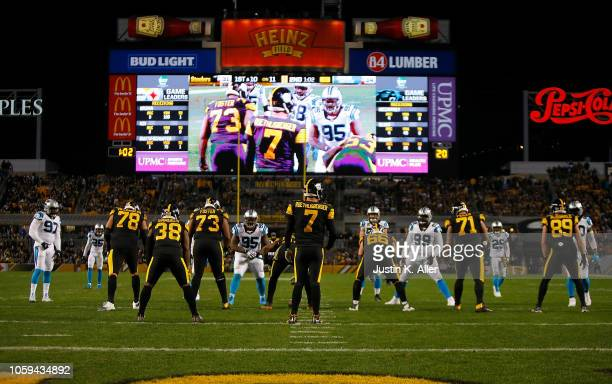 Ben Roethlisberger of the Pittsburgh Steelers lines up under center during the second quarter in the game against the Carolina Panthers at Heinz...