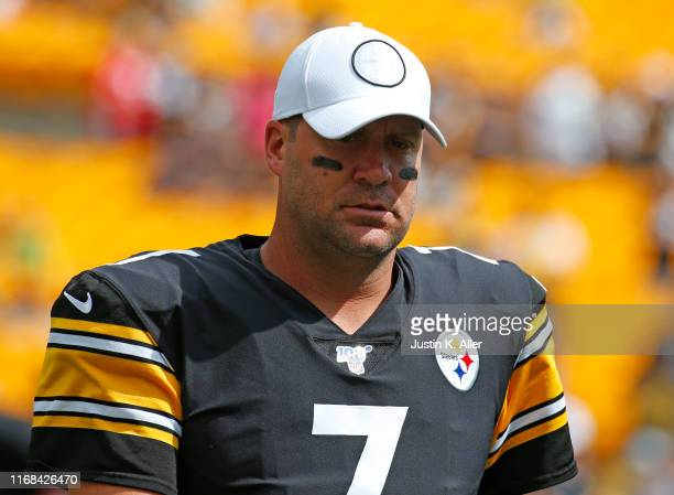 Ben Roethlisberger of the Pittsburgh Steelers looks on before the game against the Seattle Seahawks on September 15 2019 at Heinz Field in Pittsburgh...