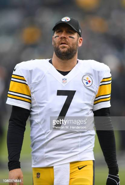 Ben Roethlisberger of the Pittsburgh Steelers looks on during pregame warm ups prior to the start of an NFL football game against the Oakland Raiders...