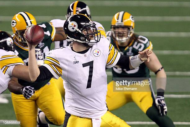 Ben Roethlisberger of the Pittsburgh Steelers looks to pass against the Green Bay Packers during Super Bowl XLV at Cowboys Stadium on February 6 2011...