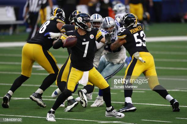 Ben Roethlisberger of the Pittsburgh Steelers looks to pass during a game against the Dallas Cowboys at AT&T Stadium on November 08, 2020 in...