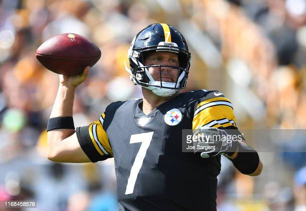 Ben Roethlisberger of the Pittsburgh Steelers looks to pass during the first quarter against the Seattle Seahawks at Heinz Field on September 15 2019...