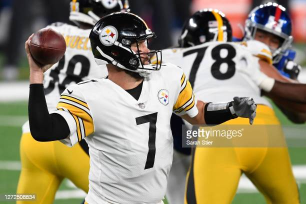 Ben Roethlisberger of the Pittsburgh Steelers looks to pass during the first half against the New York Giants at MetLife Stadium on September 14 2020...