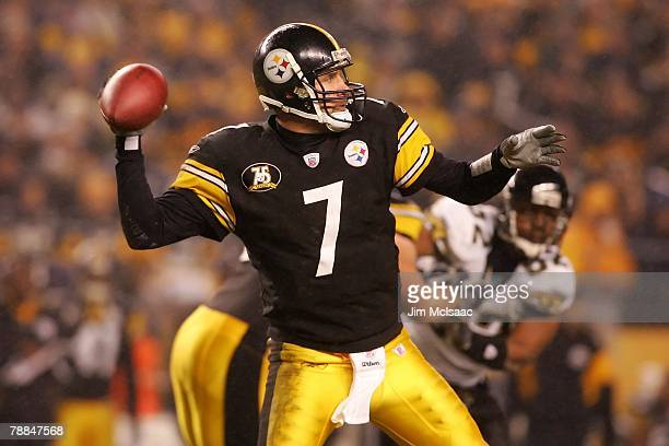 Ben Roethlisberger of the Pittsburgh Steelers passes against the Jacksonville Jaguars during the AFC Wild Card game on January 5 2008 at Heinz Field...