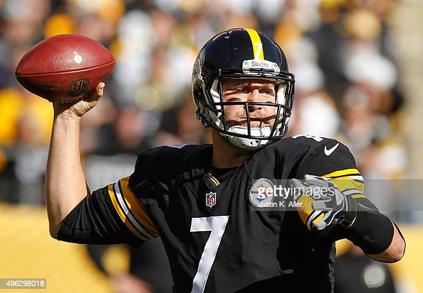 Ben Roethlisberger of the Pittsburgh Steelers passes in first quarter of the game against the Oakland Raiders at Heinz Field on November 8 2015 in...