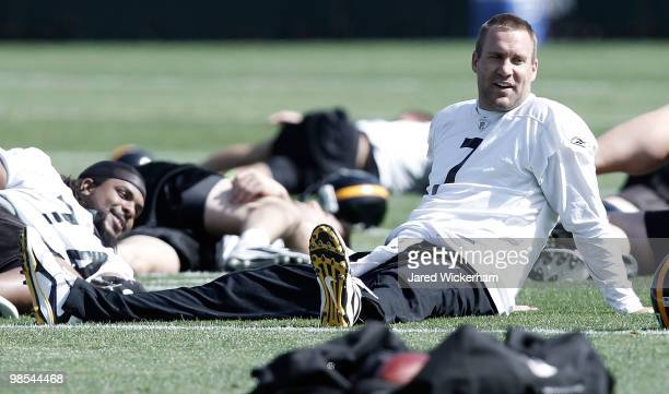 Ben Roethlisberger of the Pittsburgh Steelers practices on April 19 2010 at the Pittsburgh Steelers South Side training facility in Pittsburgh...
