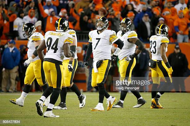 Ben Roethlisberger of the Pittsburgh Steelers reacts after a play in the fourth quarter during the AFC Divisional Playoff Game against the Denver...
