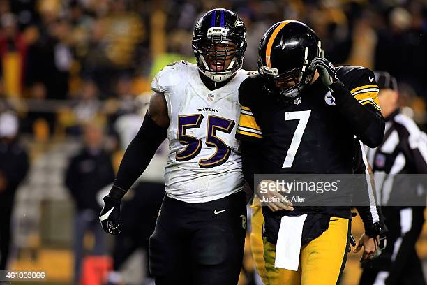 Ben Roethlisberger of the Pittsburgh Steelers reacts and walks back to the bench in the fourth quarter against the Baltimore Ravens during their AFC...