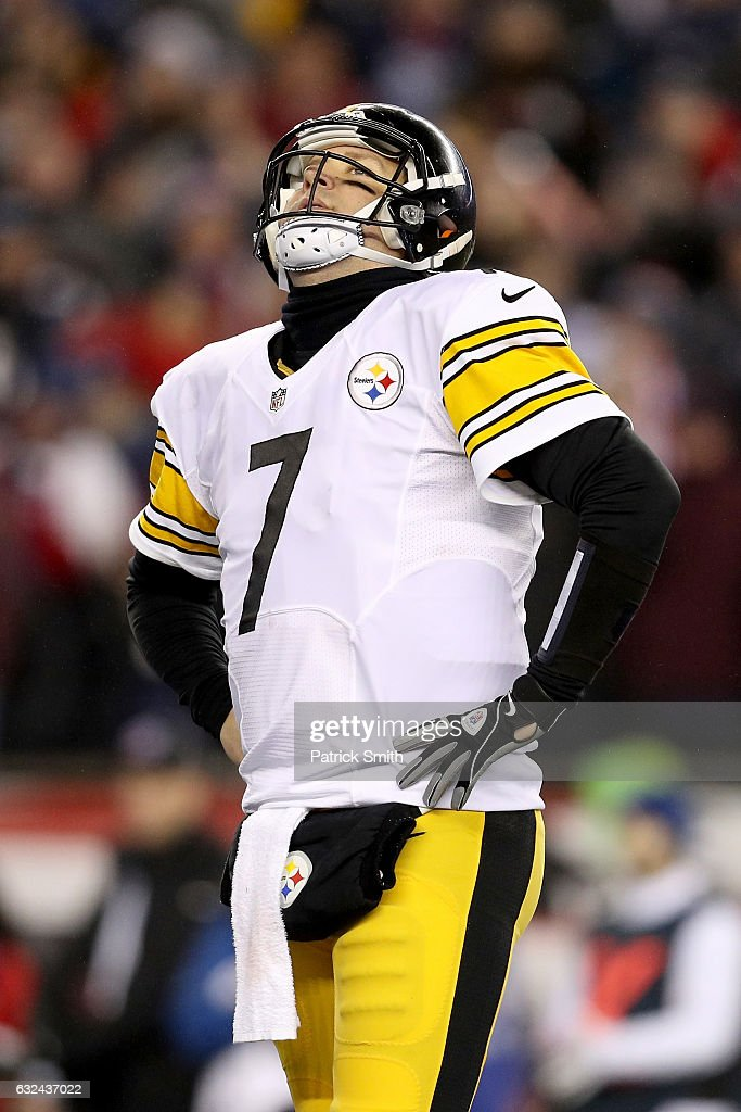 Ben Roethlisberger #7 of the Pittsburgh Steelers reacts during the second half against the New England Patriots in the AFC Championship Game at Gillette Stadium on January 22, 2017 in Foxboro, Massachusetts.