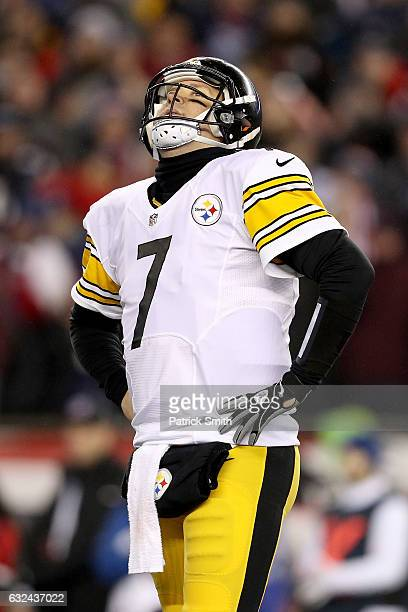 Ben Roethlisberger of the Pittsburgh Steelers reacts during the second half against the New England Patriots in the AFC Championship Game at Gillette...