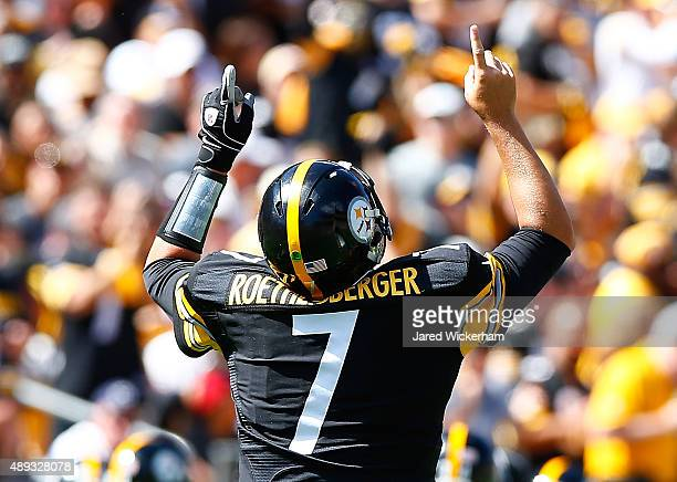 Ben Roethlisberger of the Pittsburgh Steelers reacts following touchdown in the second quarter against the San Francisco 49ers during the game at...