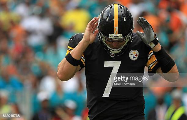 Ben Roethlisberger of the Pittsburgh Steelers reacts to a play during a game against the Miami Dolphins on October 16 2016 in Miami Gardens Florida