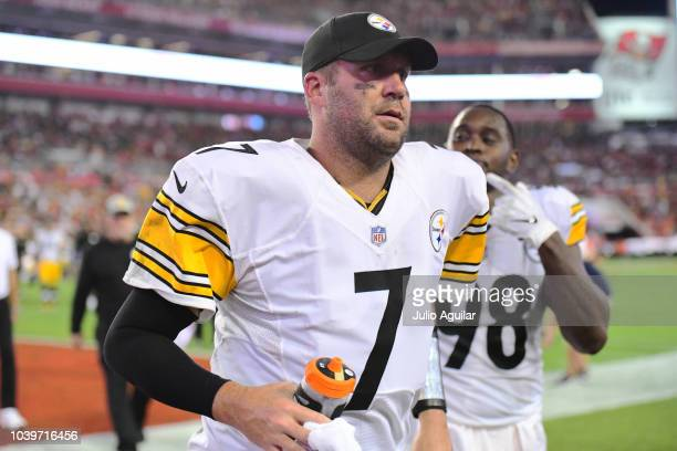 Ben Roethlisberger of the Pittsburgh Steelers runs in to the locker room during halftime of a game against the Tampa Bay Buccaneers on September 24,...
