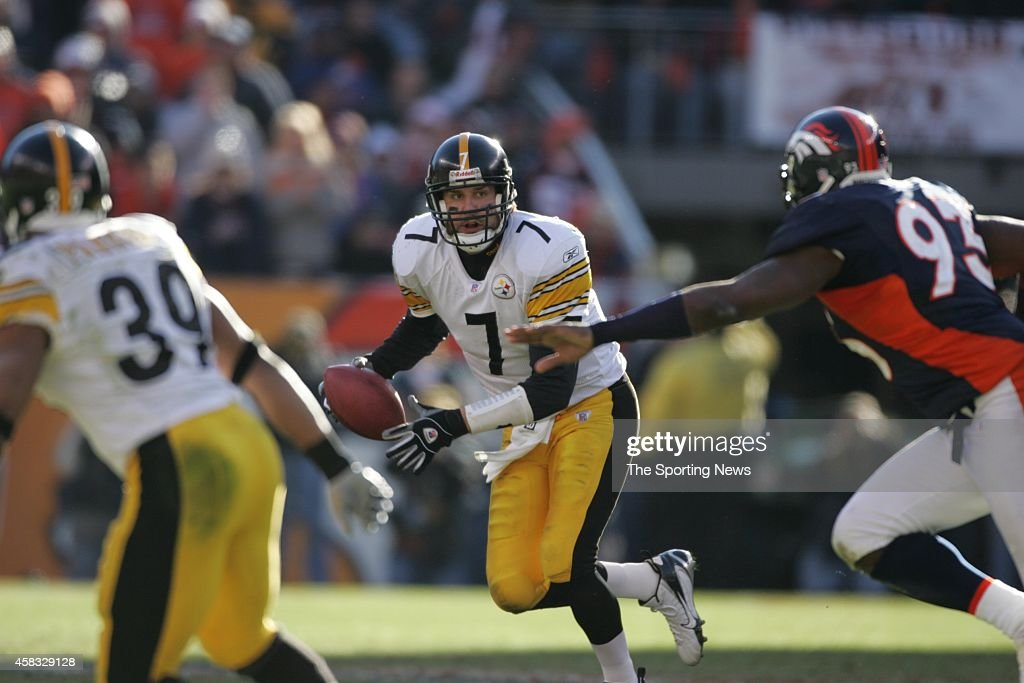 Ben Roethlisberger #7 of the Pittsburgh Steelers runs with the ball during the AFC Championship game against the Denver Broncos on January 22, 2006 at Invesco Field at Mile High in Denver, Colorado.