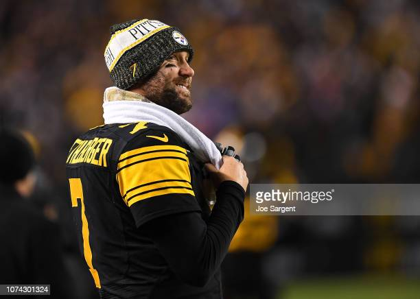 Ben Roethlisberger of the Pittsburgh Steelers smiles as he looks on in the fourth quarter during the game against the New England Patriots at Heinz...
