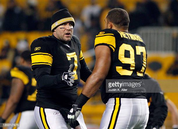 Ben Roethlisberger of the Pittsburgh Steelers talks to Cameron Heyward during warmups before the game against the Cleveland Browns on December 8,...