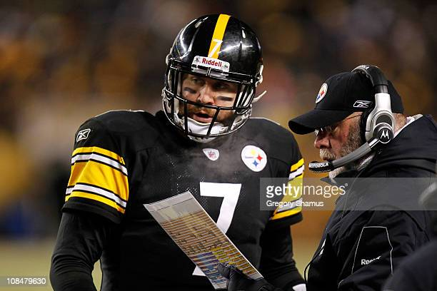 Ben Roethlisberger of the Pittsburgh Steelers talks to offensive coordinator Bruce Arians during their 2011 AFC Championship game against the New...