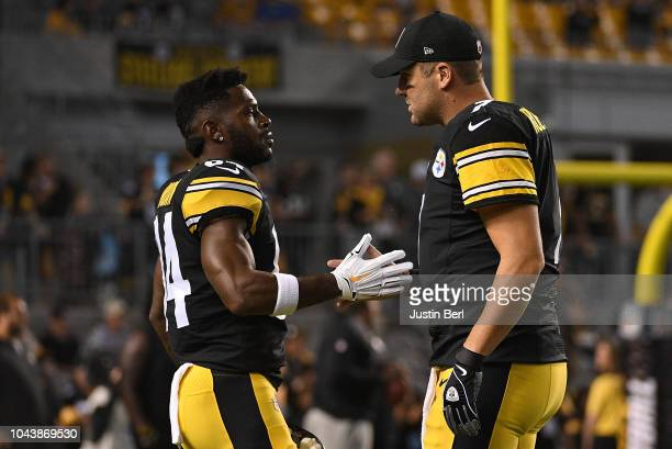 Ben Roethlisberger of the Pittsburgh Steelers talks with Antonio Brown during warmups before the game against the Baltimore Ravens at Heinz Field on...