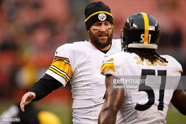 Ben Roethlisberger of the Pittsburgh Steelers talks with Sean Spence prior to the game against the Cleveland Browns at FirstEnergy Stadium on January...