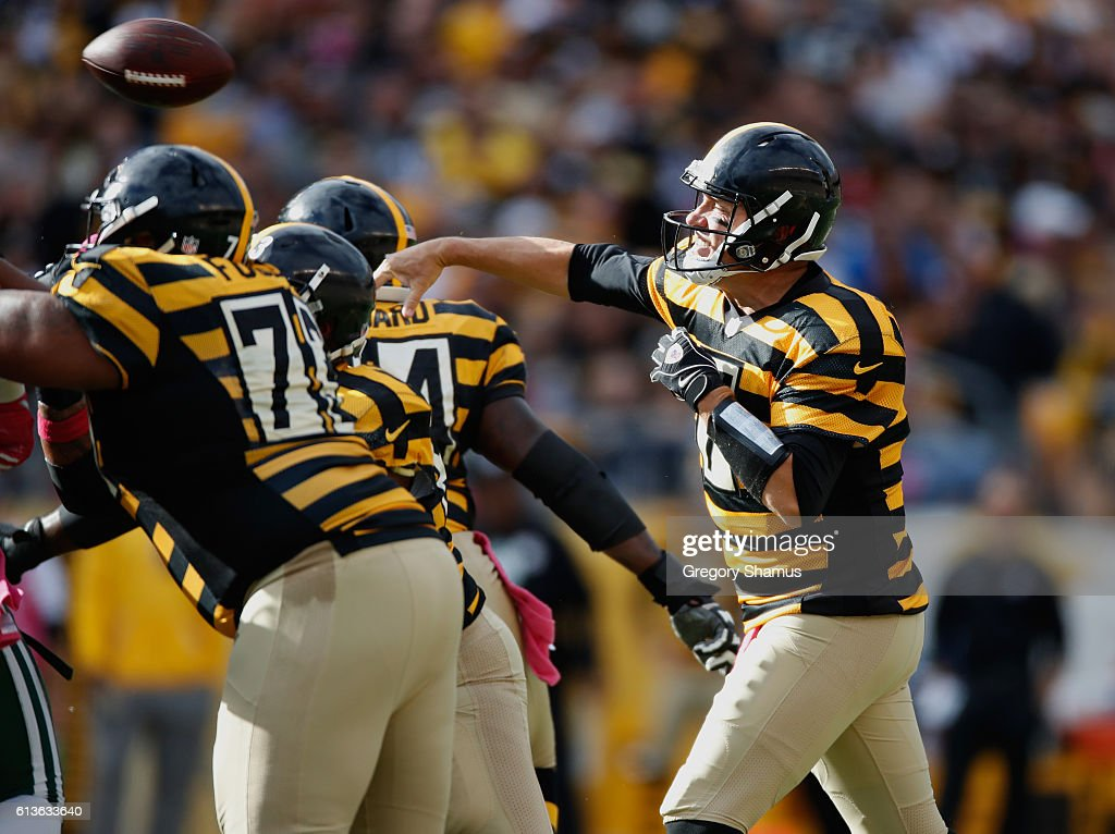 Ben Roethlisberger #7 of the Pittsburgh Steelers throws a fourth quarter pass while playing the New York Jets at Heinz Field on October 9, 2016 in Pittsburgh, Pennsylvania. Pittsburgh won the game 31-13.
