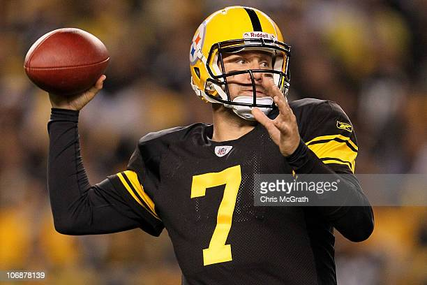 Ben Roethlisberger of the Pittsburgh Steelers throws a pass against the New England Patriots on November 14 2010 at Heinz Field in Pittsburgh...