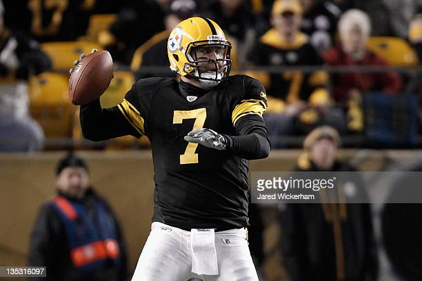 Ben Roethlisberger of the Pittsburgh Steelers throws a pass in the first half against the Cleveland Browns at Heinz Field on December 8 2011 in...