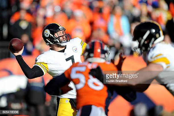 Ben Roethlisberger of the Pittsburgh Steelers throws a pass in the first quarter against the Denver Broncos during the AFC Divisional Playoff Game at...