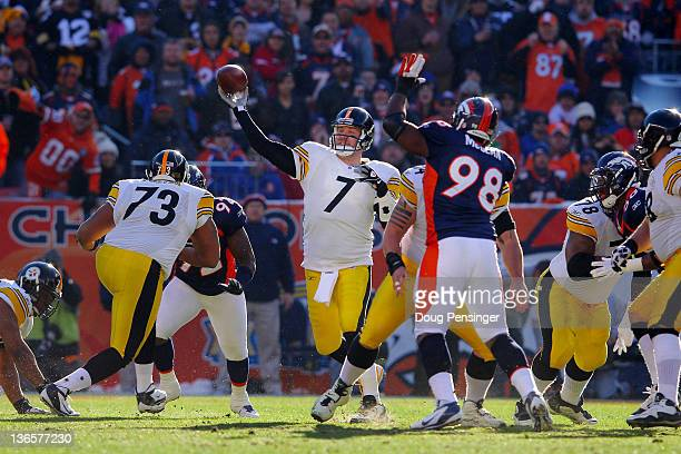 Ben Roethlisberger of the Pittsburgh Steelers throws ball against the Denver Broncos during the AFC Wild Card Playoff game at Sports Authority Field...