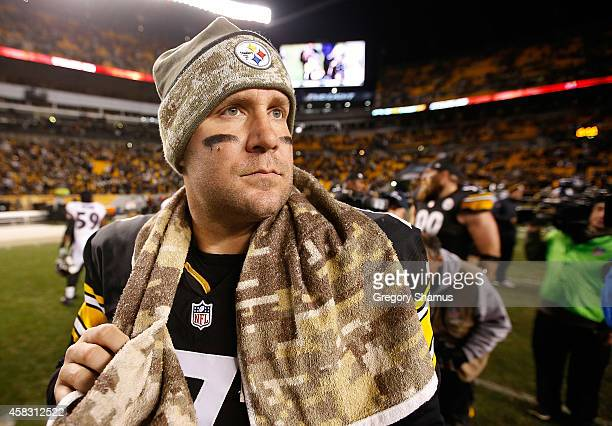Ben Roethlisberger of the Pittsburgh Steelers walks off the field after a 4323 win over the Baltimore Ravens at Heinz Field on November 2 2014 in...
