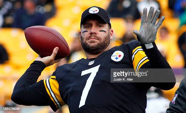 Ben Roethlisberger of the Pittsburgh Steelers warms up before the game against the Baltimore Ravens on October 20 2013 at Heinz Field in Pittsburgh...