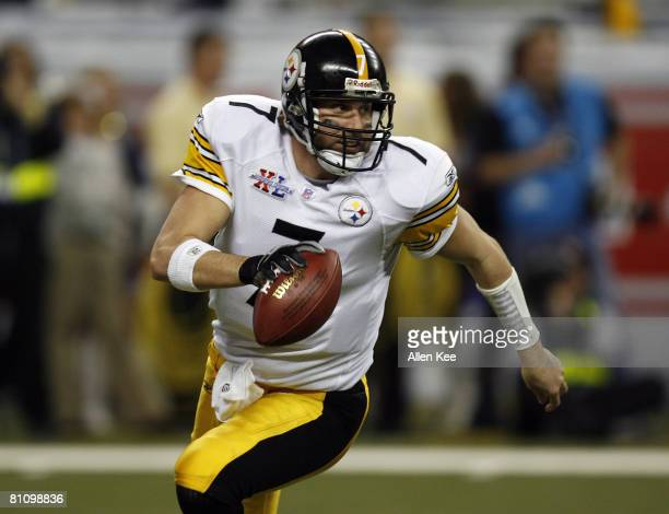 Ben Roethlisberger of the Steelers during Super Bowl XL between the Pittsburgh Steelers and Seattle Seahawks at Ford Field in Detroit Michigan on...
