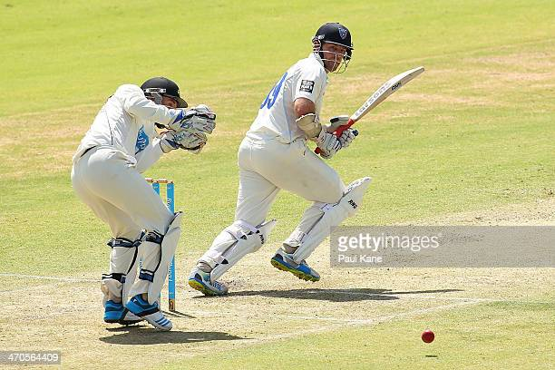 Ben Rohrer of the Blues bats during day one of the Sheffield Shield match between the Western Australia Warriors and the New South Wales Blues at the...