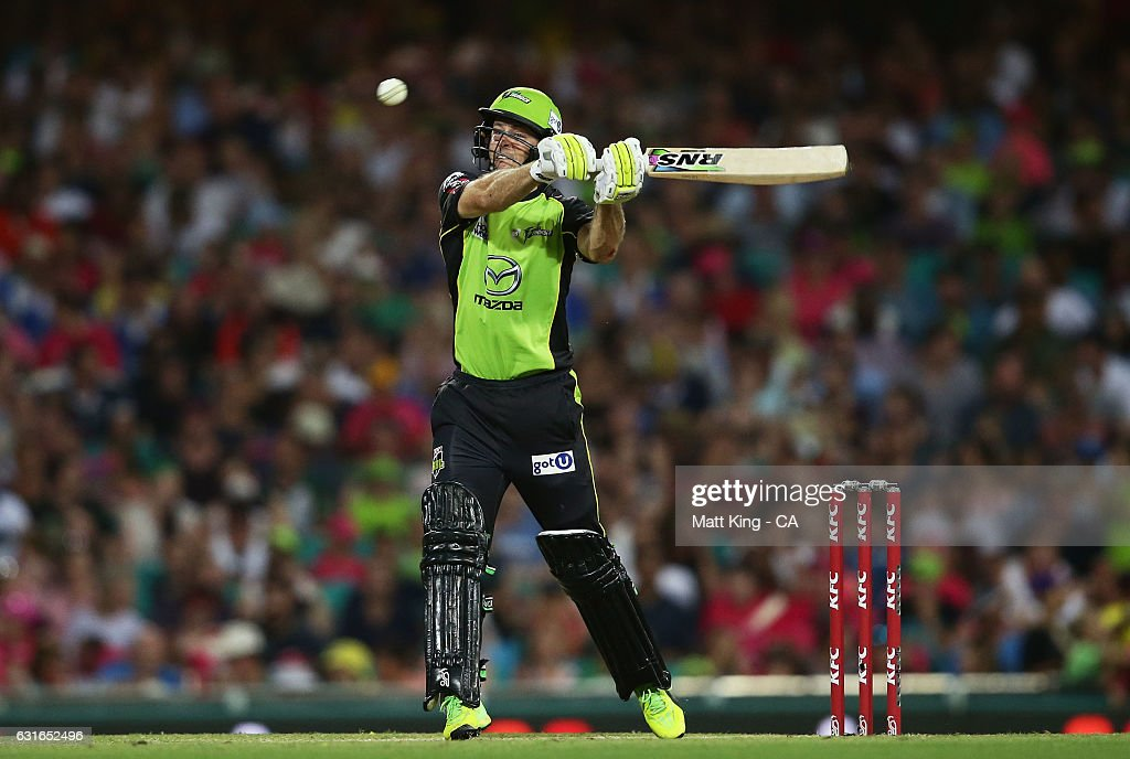 Ben Rohrer of the Thunder bats during the Big Bash League match between the Sydney Sixers and the Sydney Thunder at Sydney Cricket Ground on January 14, 2017 in Sydney, Australia.