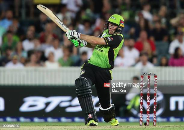 Ben Rohrer of the Thunder bats during the Big Bash League match between the Sydney Thunder and the Melbourne Renegades at Manuka Oval on January 24...