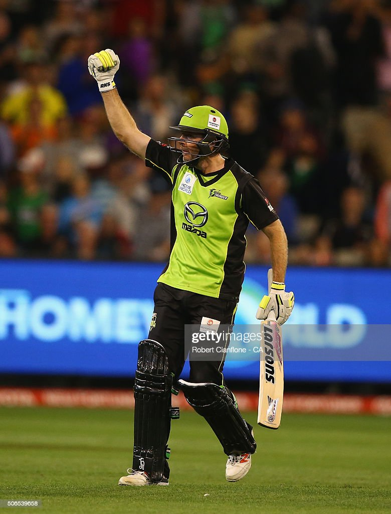 Ben Rohrer of the Thunder celebrates scoring the winning runs during the Big Bash League final match between Melbourne Stars and the Sydney Thunder at Melbourne Cricket Ground on January 24, 2016 in Melbourne, Australia.