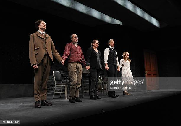 Ben Rosenfield Peter Friedman Meritt Wever Frank Wood and Sophia Anne Caruso onstage at 'The Nether' Opening Night at Lucille Lortel Theatre on...