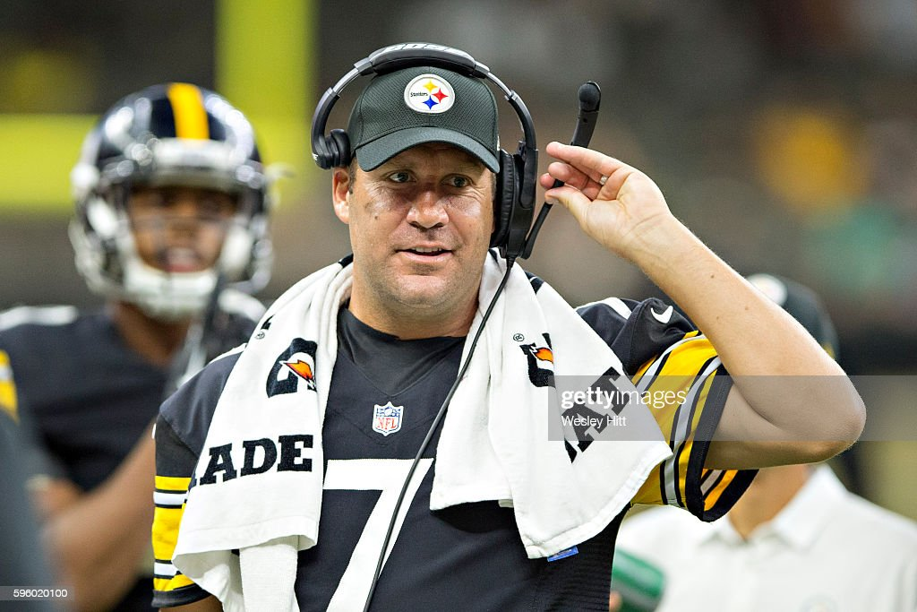 Ben Rosthlisberger #7 of the Pittsburgh Steelers on the sidelines during a preseason game against the New Orleans Saints at Mercedes-Benz Superdome on August 26, 2016 in New Orleans, Louisiana. The Steelers defeated the Saints 27-14.