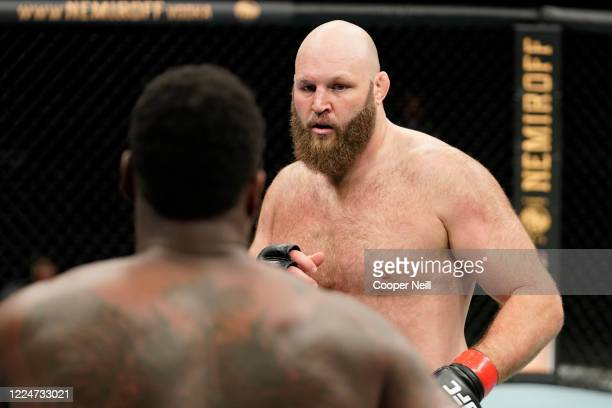 Ben Rothwell battles Ovince Saint Preux in their heavyweight bout during the UFC Fight Night Event at VyStar Veterans Memorial Arena on May 13 2020...