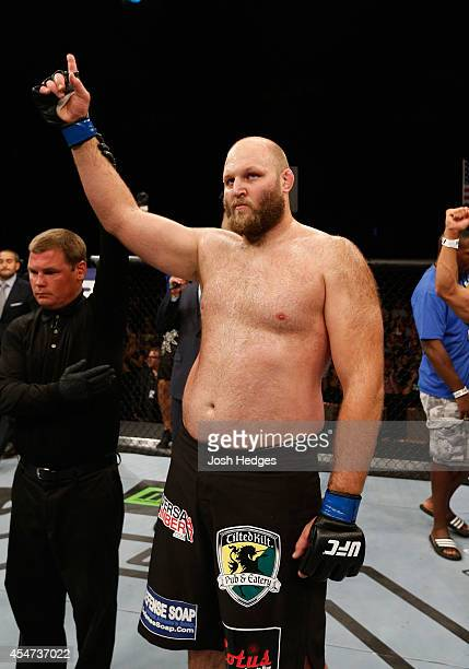 Ben Rothwell celebrates after defeating Alistair Overeem in their heavyweight bout during the UFC Fight Night event at Foxwoods Resort Casino on...