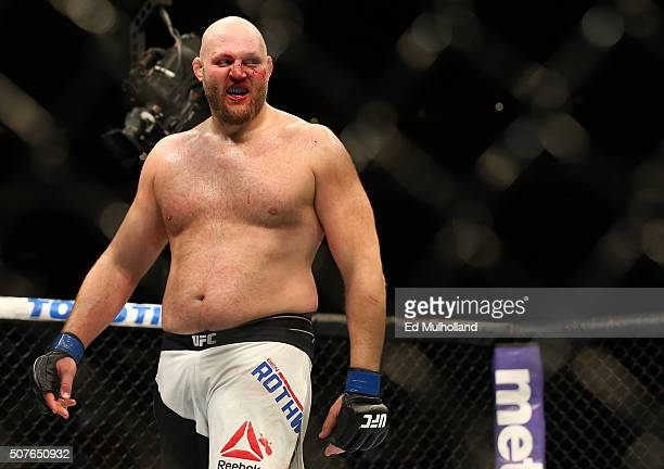 Ben Rothwell celebrates his submission victory over Josh Barnett in their heavyweight bout during the UFC Fight Night event at the Prudential Center...