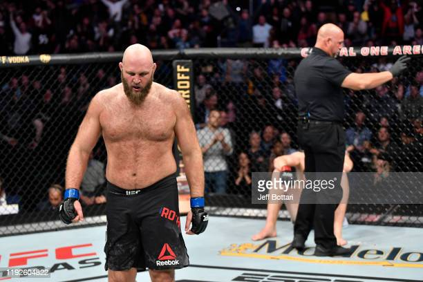 Ben Rothwell celebrates his TKO victory over Stefan Struve of Netherlands in their heavyweight bout during the UFC Fight Night event at Capital One...