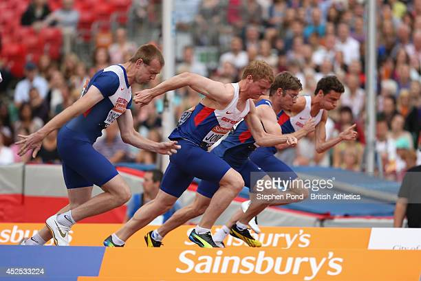 Ben Rushgrove Rhys Jones Graeme Ballard and Paul Blake of Great Britain in action in the Men's 100 metres T36/37 during the Sainsbury's Anniversary...